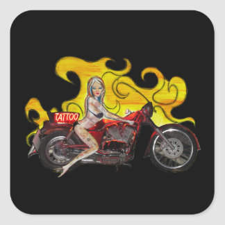 Sexy Tattoo pinup girl on a motorcycle Square Sticker