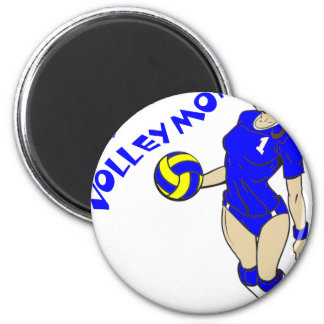 SEXY VOLLEY MOM 6 CM ROUND MAGNET