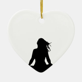 Sexy woman sitting indian style ceramic heart decoration