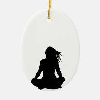 Sexy woman sitting indian style ceramic oval decoration