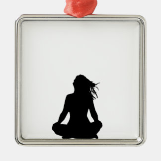 Sexy woman sitting indian style Silver-Colored square decoration