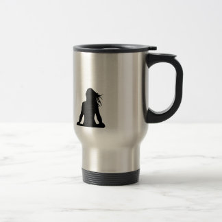 Sexy woman sitting indian style stainless steel travel mug