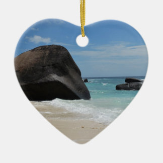 Seychelles beach ceramic heart decoration