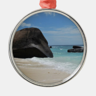 Seychelles beach christmas ornament
