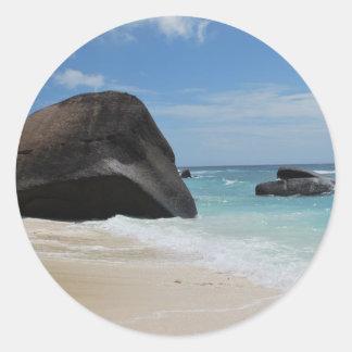 Seychelles beach classic round sticker