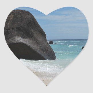 Seychelles beach heart sticker