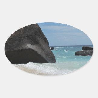 Seychelles beach oval sticker