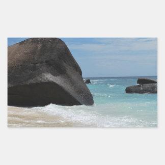 Seychelles beach rectangular sticker