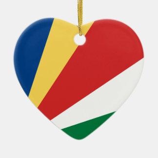 Seychelles Flag Heart Ceramic Heart Decoration