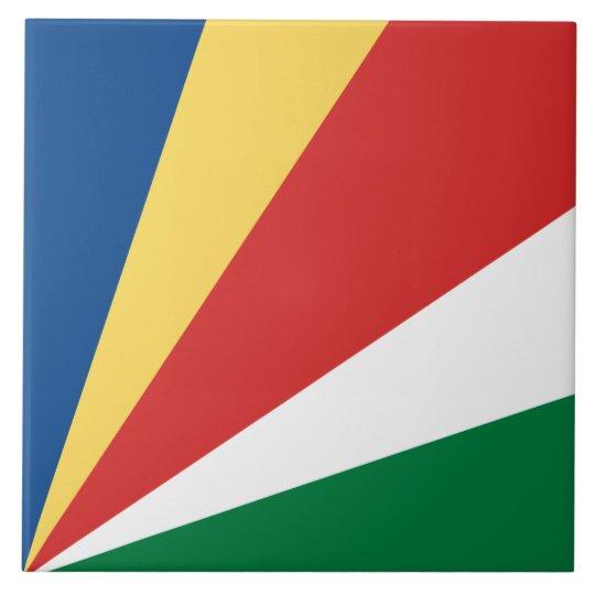 Seychelles Flag Large Square Tile