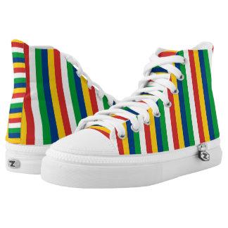 Seychelles flag stripes lines pattern high tops