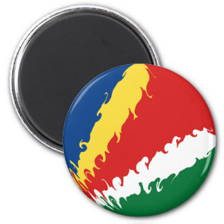 Seychelles Gnarly Flag 6 Cm Round Magnet