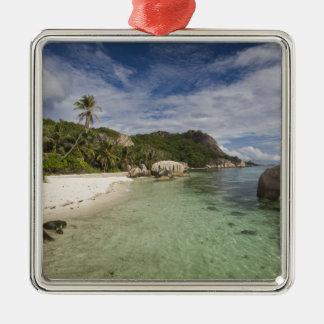 Seychelles, La Digue Island, L'Union Estate 2 Silver-Colored Square Decoration