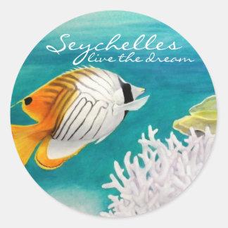 Seychelles live the dream angelfish classic round sticker