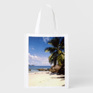 Seychelles mahe beach reusable grocery bag