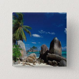 Seychelles, Mahe Island, Anse Royale Beach. 15 Cm Square Badge