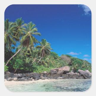 Seychelles, Mahe Island, Anse Royale Beach. 2 Square Sticker