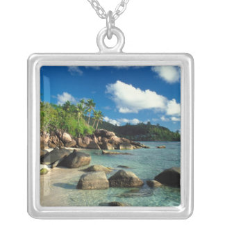 Seychelles, Mahe Island, Anse Royale Beach. 3 Silver Plated Necklace