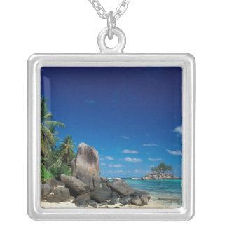 Seychelles, Mahe Island, Anse Royale Beach. Silver Plated Necklace