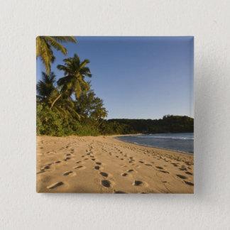 Seychelles, Mahe Island, Anse Takamaka beach, 2 15 Cm Square Badge