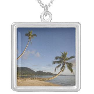 Seychelles, Mahe Island, horizontal palm, Silver Plated Necklace