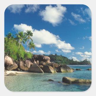 Seychelles, Mahe Island, Lazare Bay Square Sticker