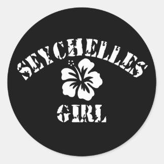 Seychelles Pink Girl Round Sticker