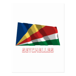 Seychelles Waving Flag with Name Postcard