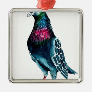 Seymour the pigeon Silver-Colored square decoration