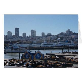 SF City Skyline & Pier 39 Sea Lions Greeting Card