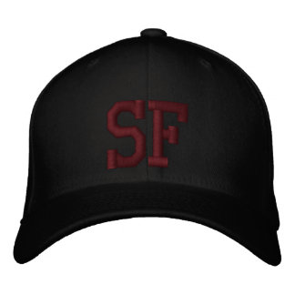 SF Custom Cap - Black and Red Embroidered Baseball Cap
