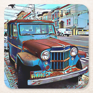 SF Mission Old Car Paper Coaster
