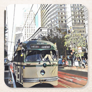 SF Streetcar Square Coasters