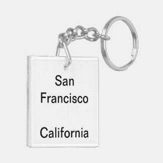 Sf Sunset Double-Sided Square Acrylic Key Ring