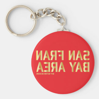 SFBA Red & Gold Basic Round Button Key Ring