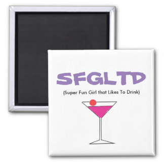 SFGLTD (super fun girl that likes to drink) 002 Square Magnet