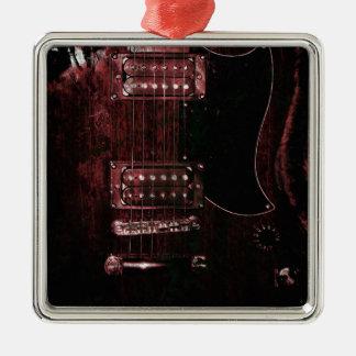 SG Guitar (Grunge) Silver-Colored Square Decoration