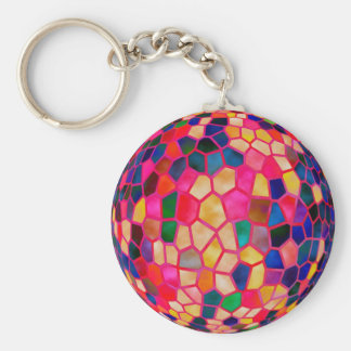 SG Light Red Glowing Crystal  Ball Basic Round Button Key Ring