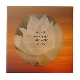 """SGI Ceramic Tile: Lotus and """"Nam Myoho Renge Kyo"""" Tile"""