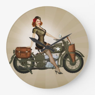 Sgt. Davidson Army Motorcycle Pinup Clock