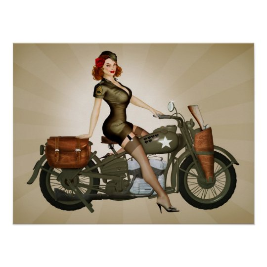 Sgt. Davidson Army Motorcycle Pinup Poster