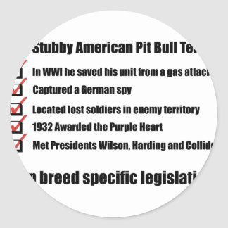 Sgt. Stubby -1 Classic Round Sticker