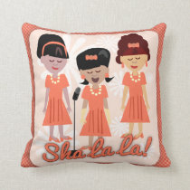 Sha La La Sixties Girl Group Cartoon Cushion