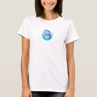 Shaaark in a circle woman's white t-shirt