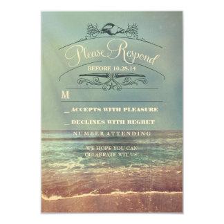 Shabby beach wedding RSVP card