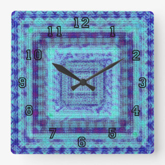 Shabby Blue Fabric Like Squares Pattern Decorative Clock