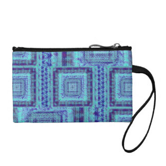 Shabby Blue Fabric Like Squares Pattern Decorative Coin Purse