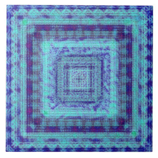 Shabby Blue Fabric Like Squares Pattern Decorative Large Square Tile