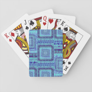 Shabby Blue Fabric Like Squares Pattern Decorative Playing Cards