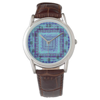 Shabby Blue Fabric Like Squares Pattern Decorative Watch